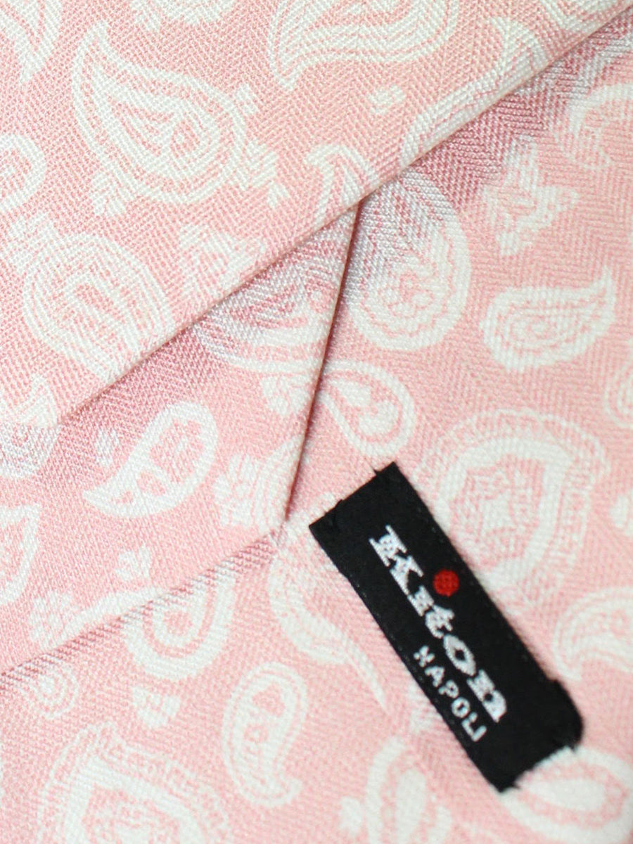 Kiton Sevenfold Tie Pink White Silver - Summer Collection