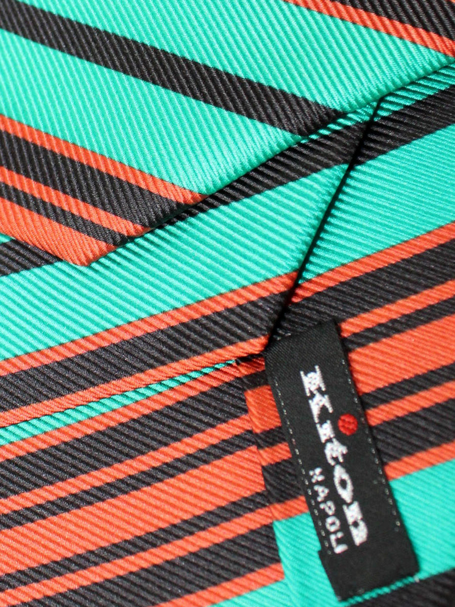 Kiton Sevenfold Tie Green Orange Black Stripes