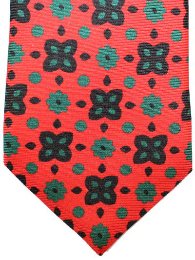 Kiton Sevenfold Tie Orange Green Black Floral