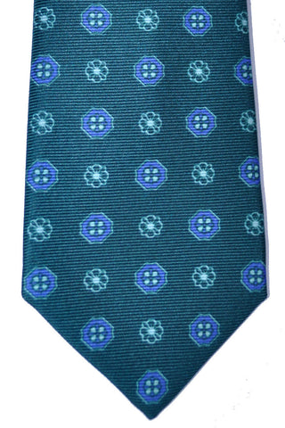 Kiton Tie Green Lapis Blue Geometric - Sevenfold