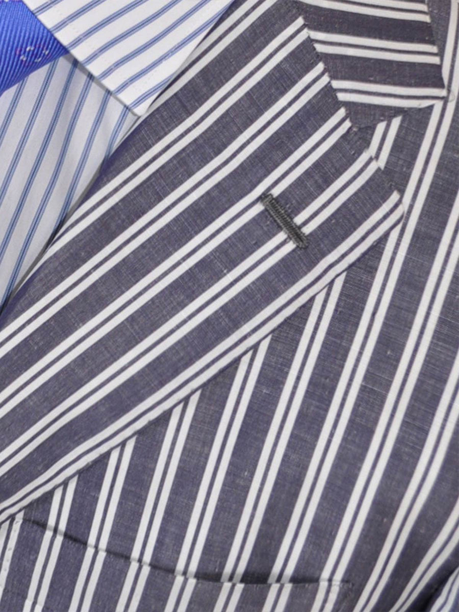 Kiton Sport Coat Navy White Stripes Cotton Linen