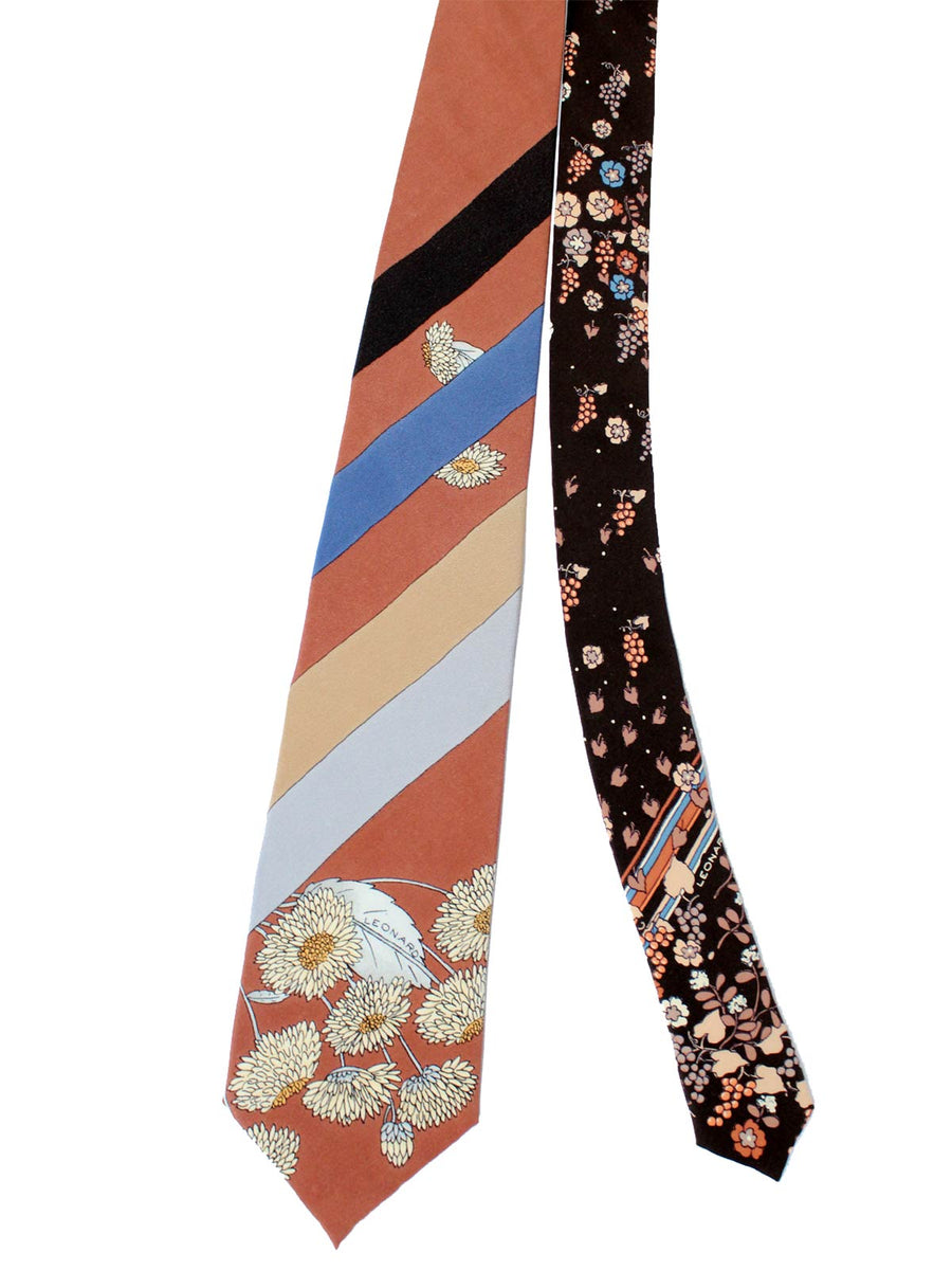 Leonard Paris Tie Brown Gray Stripes Floral - Vintage Collection