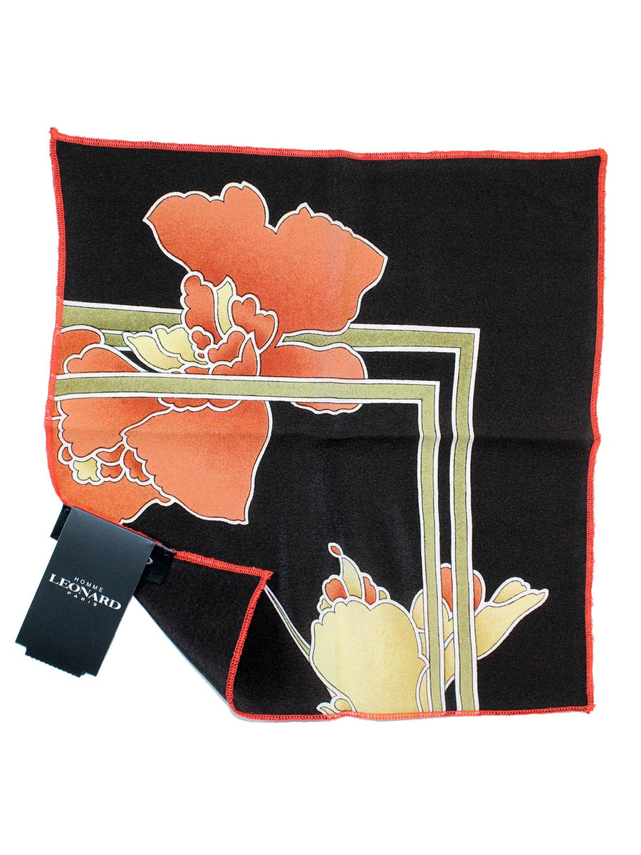 Leonard Paris Silk Pocket Square Brown Floral SALE