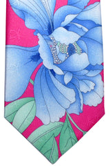 Leonard Tie Hot Pink Blue Floral & Ornaments