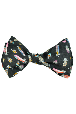 Leonard Bow Tie Black Feather Self Tie - FINAL SALE