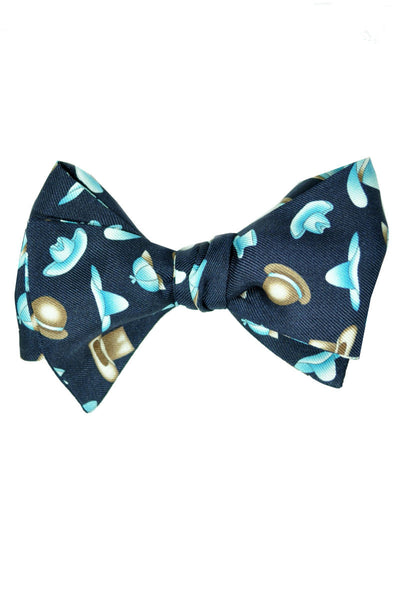Leonard Silk Bow Tie Navy Aqua-Blue Hats Self Tie - FINAL SALE