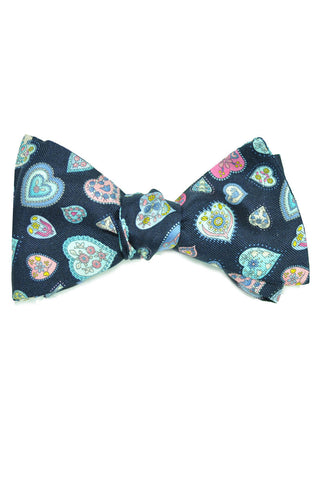 Leonard Silk Bow Tie Hearts Print - Self Tie FINAL SALE