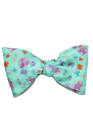 Leonard Bow Tie Mint Green Flowers FINAL SALE