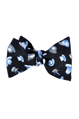 Leonard Bow Tie Black Blue Hats - Self Tie Bow Tie SALE