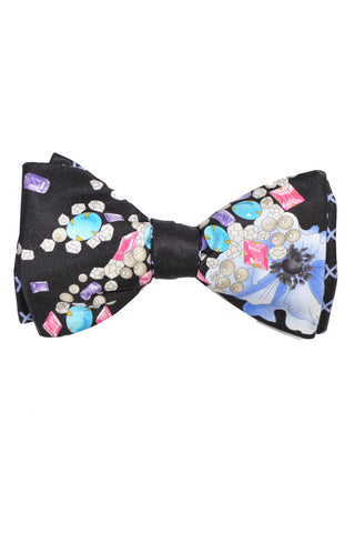 Leonard Paris Silk Bow Tie Diamonds Crystals