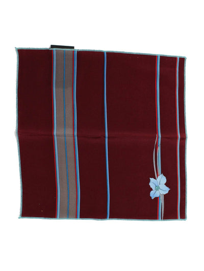 Leonard Silk Pocket Square Maroon Red Blue Stripes & Flower - Leonard Paris