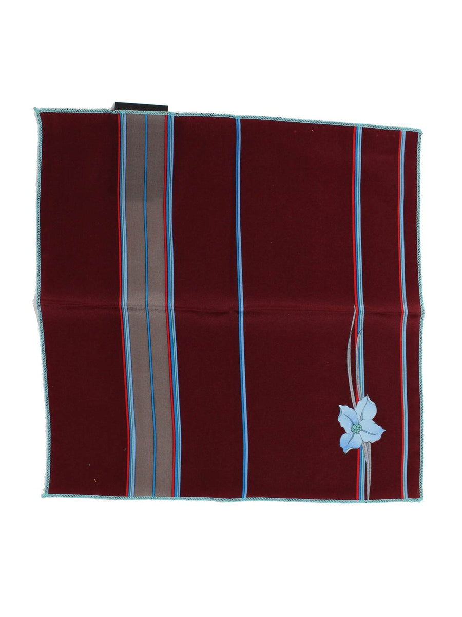 Leonard Silk Pocket Square Maroon Red Blue Stripes & Flower - SALE
