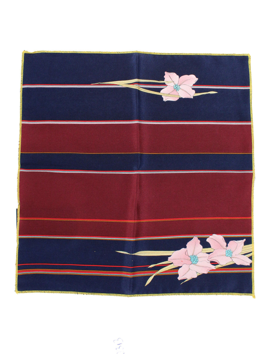 Leonard Paris Silk Pocket Square Maroon Navy Pink Floral Leonard Paris