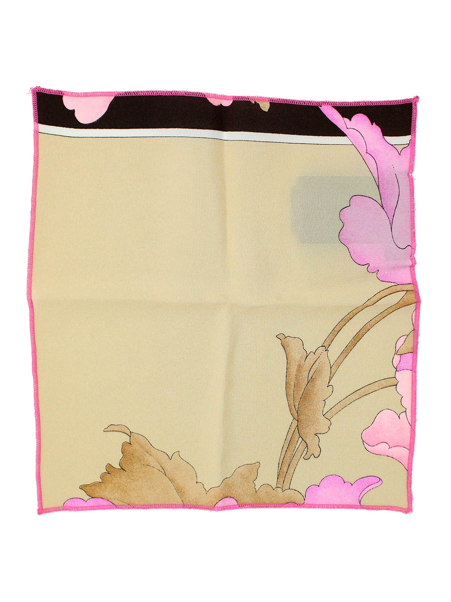 Leonard Silk Pocket Square Cream Pink Black Floral