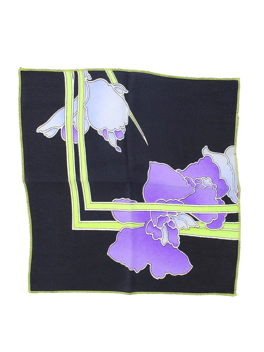 Leonard Paris Pocket Square Black Purple Lime Floral