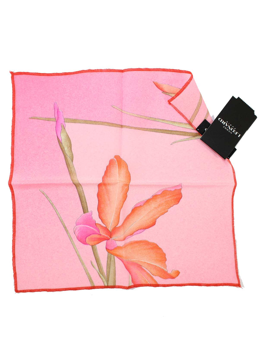 Leonard Paris Pocket Square Pink Floral