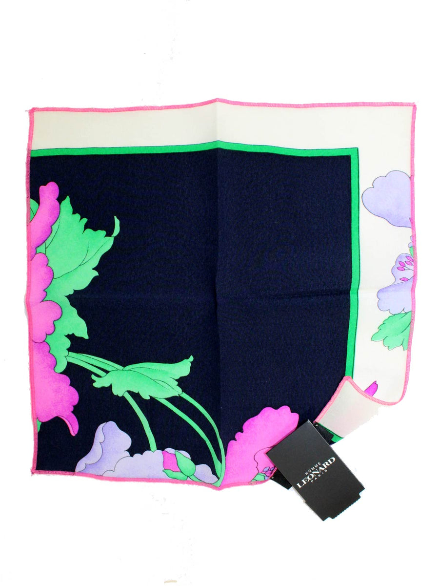 Leonard Paris Silk Pocket Square Pink Lavender Green