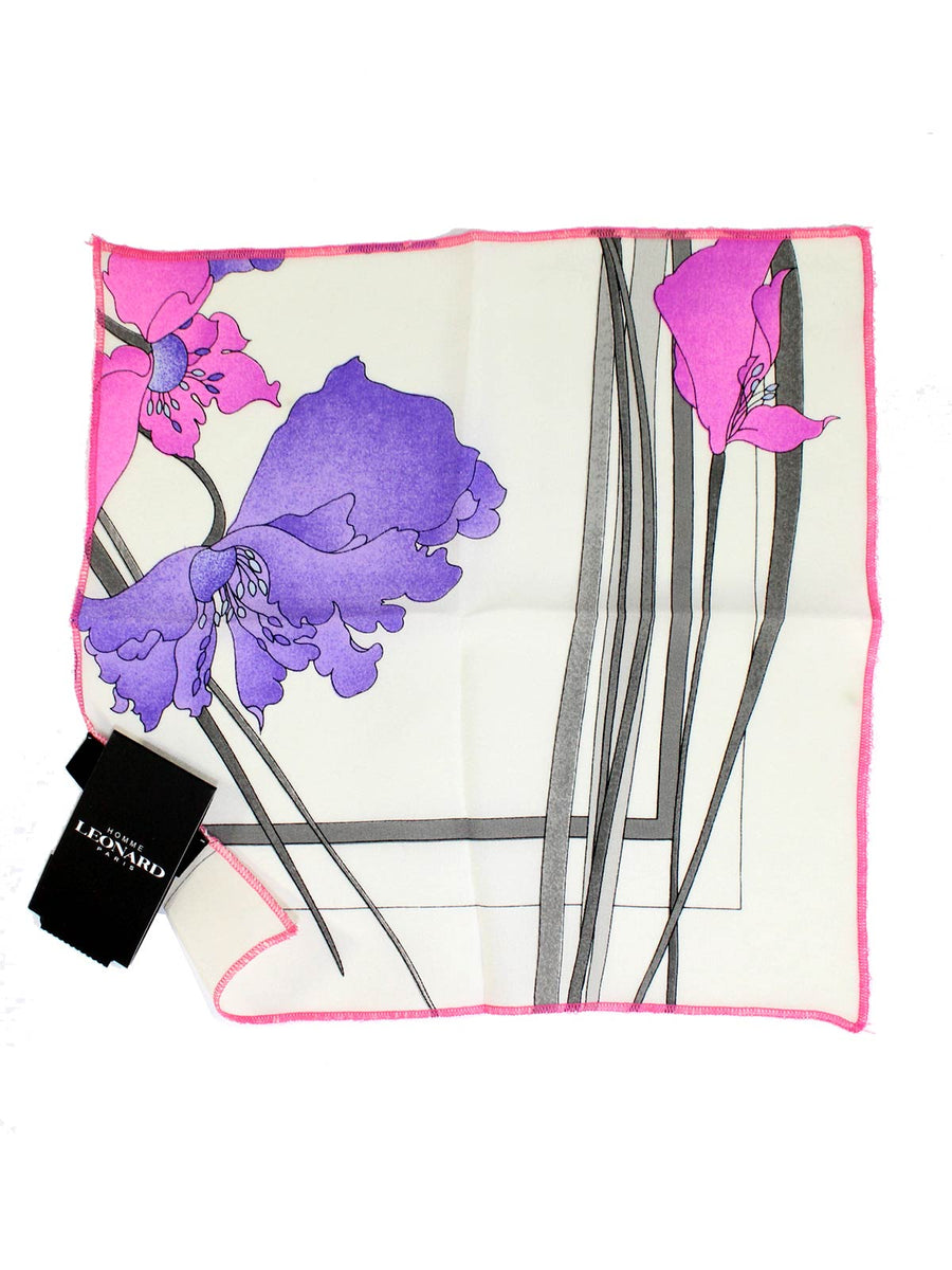 Silk Pocket Square White Purple Pink Floral
