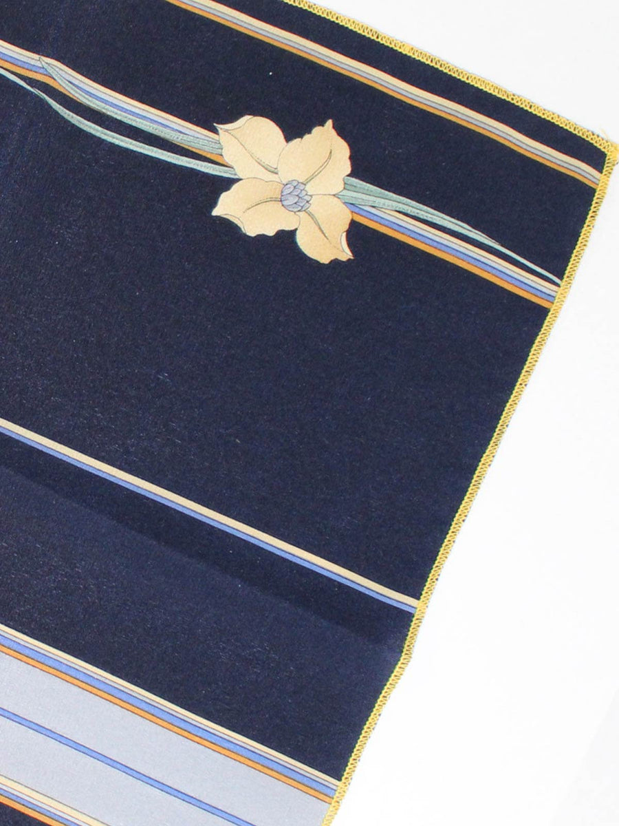 Leonard Silk Pocket Square Dark Blue Gray Brown Stripes Vintage