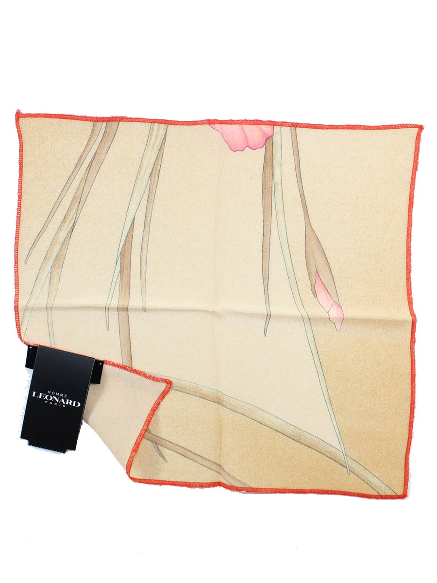 Leonard Paris Pocket Square Cream Pink