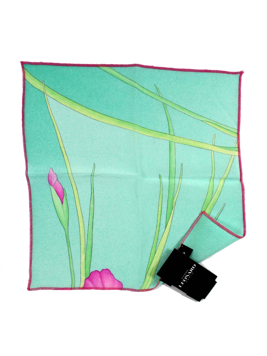 Leonard Paris Silk Pocket Square Aqua New