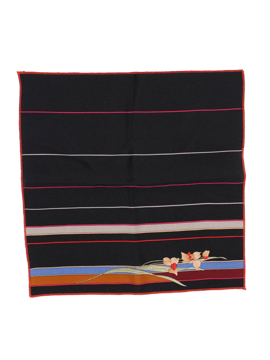 Leonard Paris Pocket Square Black Brown Gray Stripes & Flower FINAL SALE