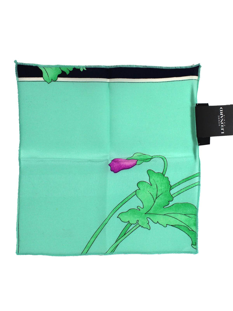 Leonard Paris Silk Pocket Square Aqua Green