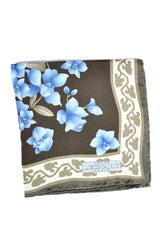 Leonard Silk Pocket Square Taupe Brown Floral