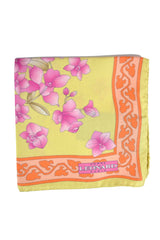 Leonard Silk Pocket Square Yellow Pink Floral