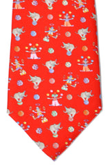 Leonard Tie Red Circus Elephant & Clown SALE
