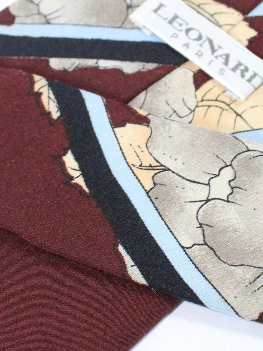 Leonard Paris Vintage Tie Maroon Gray Cream