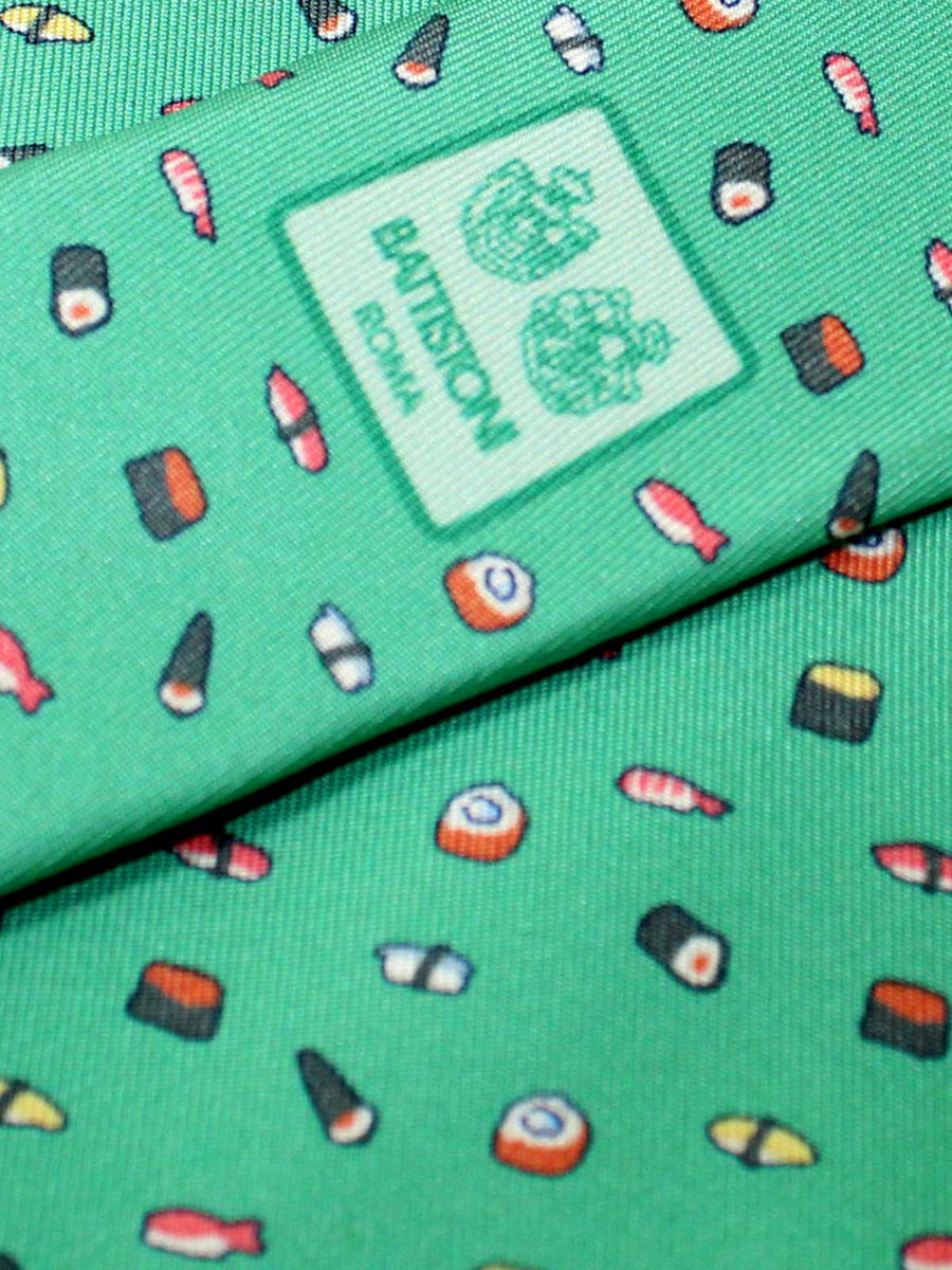 Battistoni Silk Tie Green Sushi Novelty Print SALE