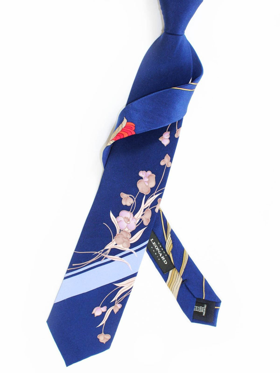 Leonard Paris Tie Navy Stripes Floral - Vintage Collection