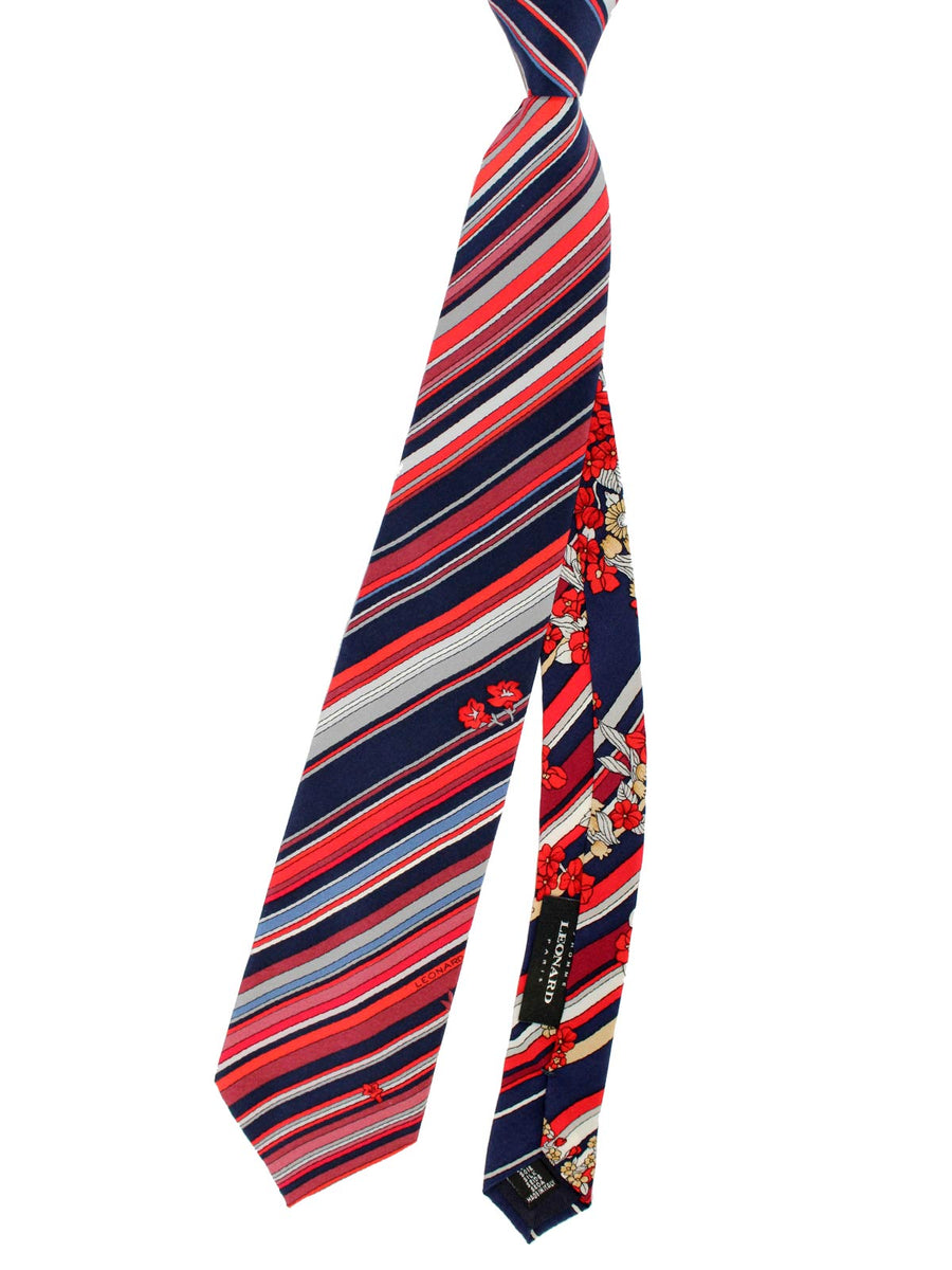 Leonard Paris Tie Navy Maroon Red Stripes Floral - Vintage Collection
