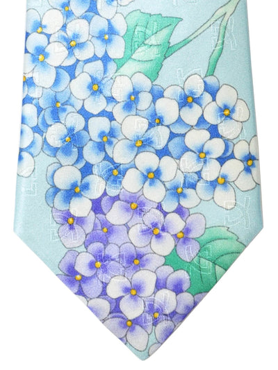 Leonard Paris Tie Sky Blue Pink Lilac Flowers - SALE
