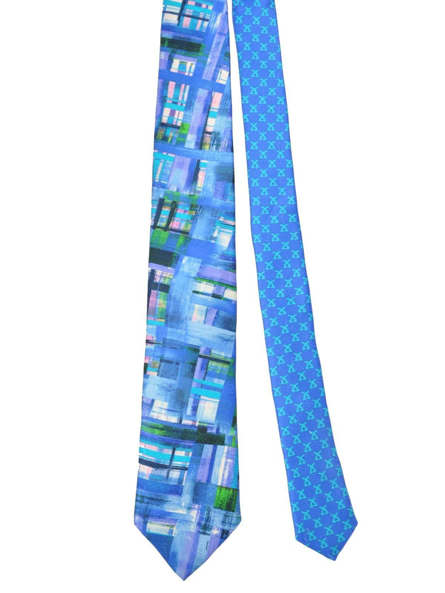 Leonard Paris Tie Royal Blue Lilac Green Water Color Stripes - Spring/ Summer 2018