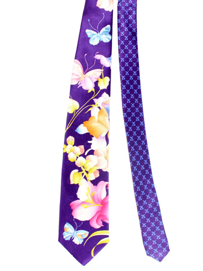 Leonard Tie Purple Floral & Butterfly New