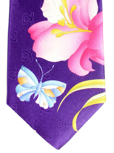 Leonard Tie Purple Floral & Butterfly Genuine