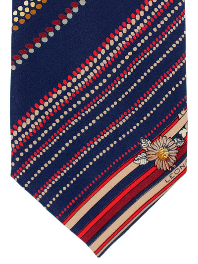 Leonard Paris Tie Dark Navy Red Maroon Cream Dotted Stripes
