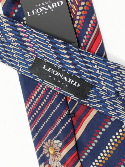 Leonard Paris Tie Dark Navy Red
