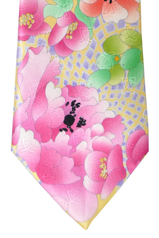 Leonard Tie Yellow Lavender Pink Orange Floral