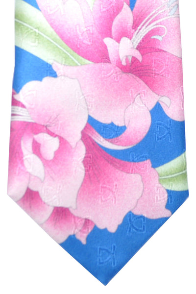Leonard Silk Tie Royal Blue Pink Green Floral Design