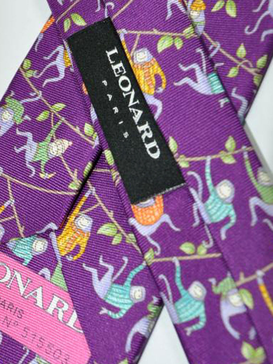 Leonard Tie Purple Monkey Print