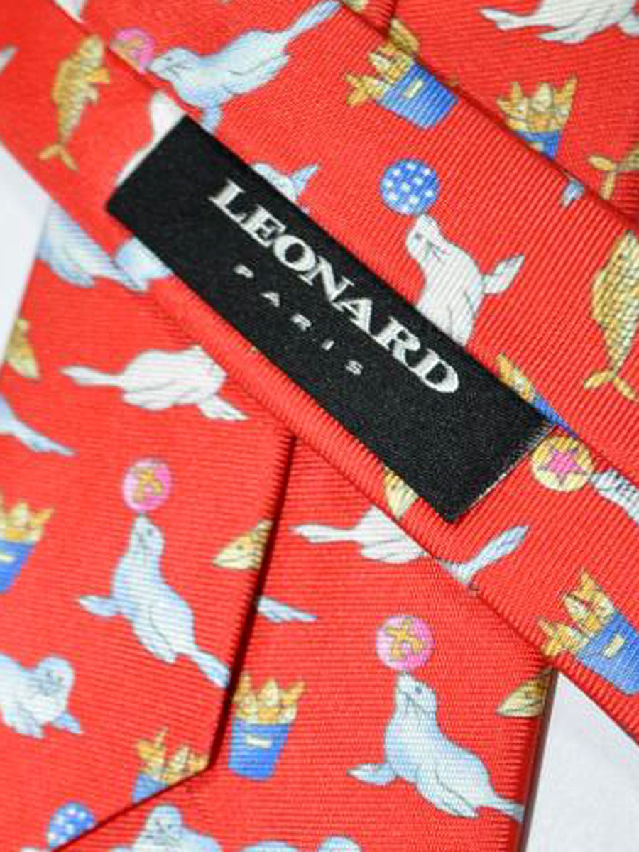 Leonard Tie Red Blue Sea Lion - Narrow Cut Necktie