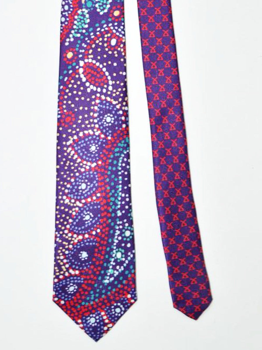 Leonard Paris Tie Purple Red Geometric Design