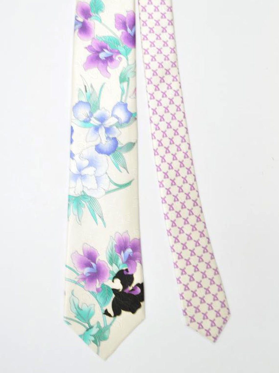 Leonard Paris Tie White Green Purple Floral - Spring/ Summer 2018