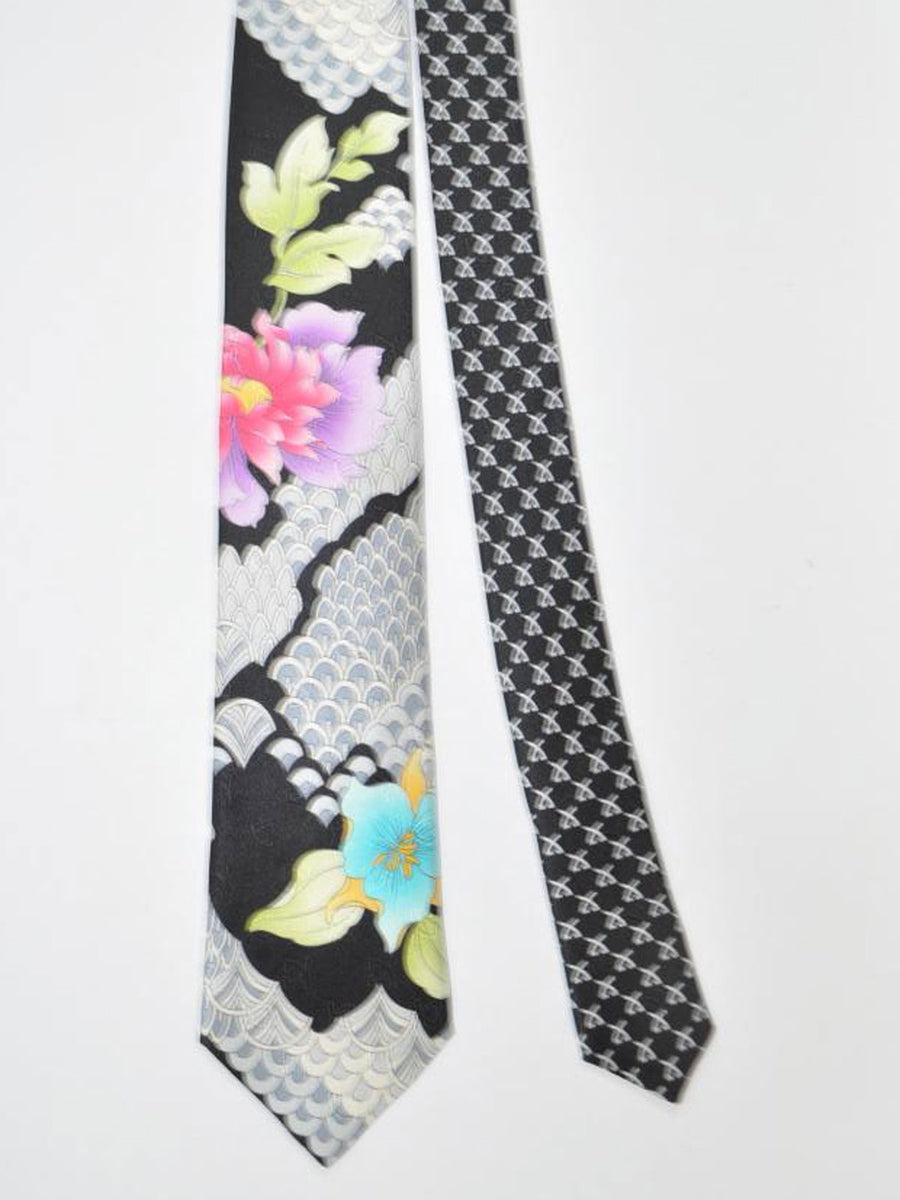Leonard Paris Tie Black Gray Green Floral - Spring / Summer 2018