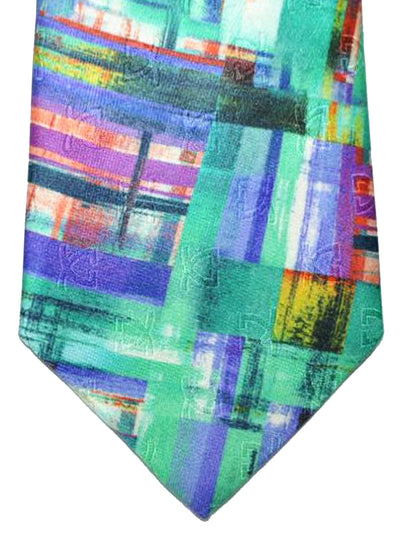 Leonard Paris Tie Green Purple Geometric