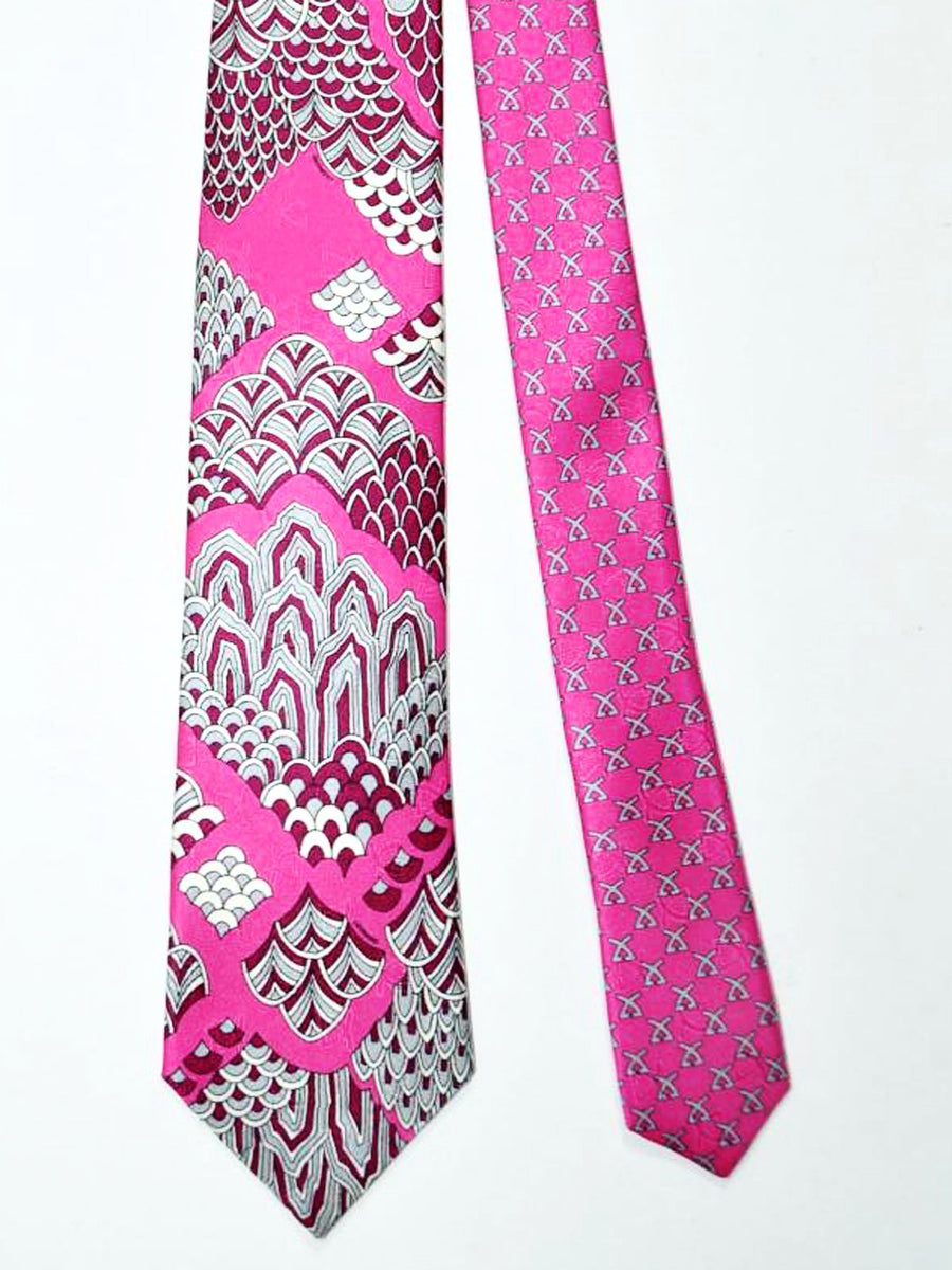 Leonard Paris Tie Pink Purple Gray Geometric