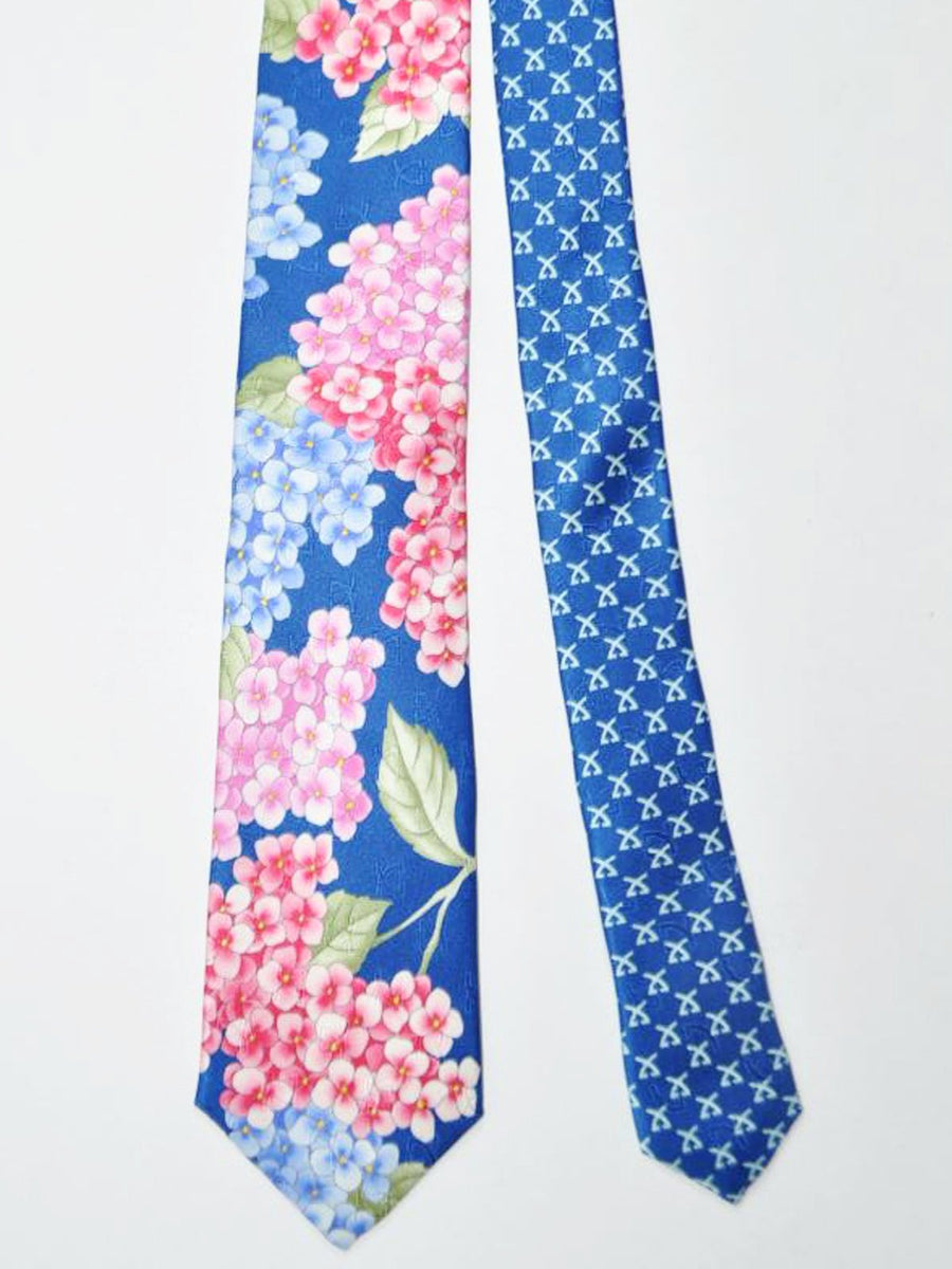 Leonard Paris Tie Royal Blue Green Pink Floral